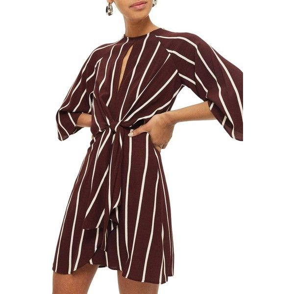 Women's Topshop Stripe Knot Front Minidress ($90) ❤ liked on Polyvore featuring dresses, burgundy, short burgundy dress, tulip skirt, stripe dresses, mini dress and draped dress