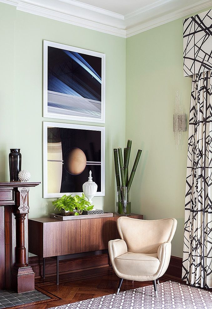 A Pale Green Wall Color Similar To Blade In Brooklyn Heights Town Home By Willey Design