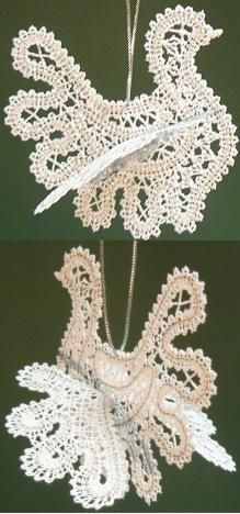 Advanced Embroidery Designs - Freestanding Battenberg Lace Snowflake Christmas Tree Ornament Set.