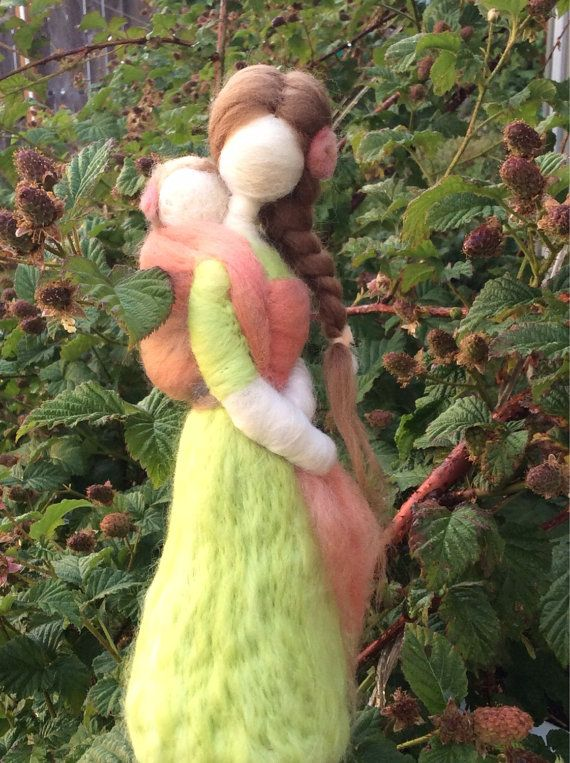 Semi Custom Needle Felted Wool Babywearing Mother and Baby