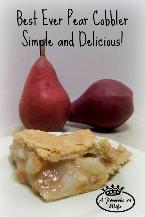A simple and delicious recipe for pear cobbler. Recipe makes a 9x13 full, or cut it to 1/3 and use the recipe to make a fresh pear pie. Simple and easy!