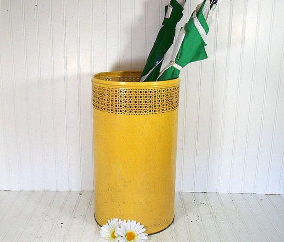 Yellow Umbrella Stand: Vintage Pierced Metal Sunshine Yellow Umbrella Stand