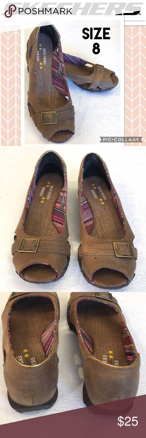 Skechers Bikers Brown Leather Peeptoe Sandals Sz 8 Good Condition. Skechers Shoes Sandals