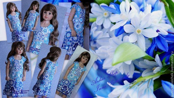 """Купить Платье """"Нежность"""" - голубой, платье для девочки, платье вязаное, платье летнее"""