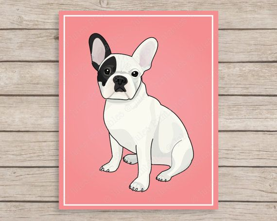 Pied French Bulldog Art Print, 8x10 Frenchie Printable, Wall Art, Pink French Bulldog Poster, Instant Download, Digital File, Dog Nursery by JulesPrintables