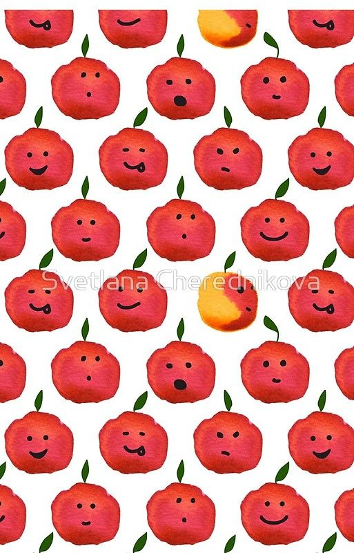 Pattern fruit. Apple smile. Emoji