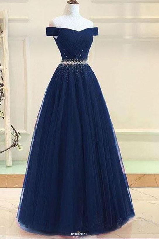 Feb 19, 2020 - Buy Modest Off-Shoulder A-Line Tulle Prom Formal Dress With Beading OP531 – ombreprom.co.uk #promdressesnavy #modestdress #formaldresses