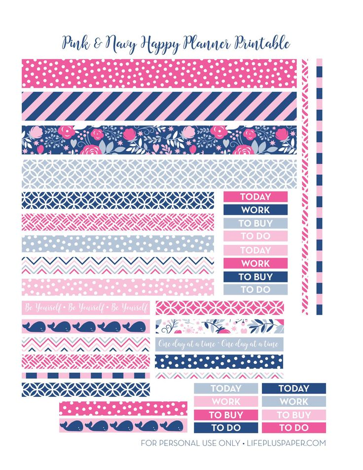 LifePlusPaper.com Happy Planner Printable Navy