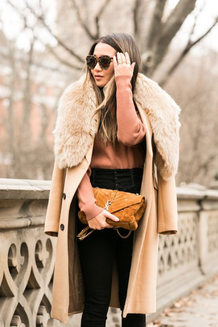 Falling :: Beige coat & Short film :: Outfit ::  Top :: Symthe coat , DKNY sweater Bottom :: Citizens of Humanity Bag :: Saint Laurent Shoes :: Christian Louboutin Accessories :: Zara faux fur stole, Karen Walker sunglasses, Tiffany & Co rings Published: December 30, 2016