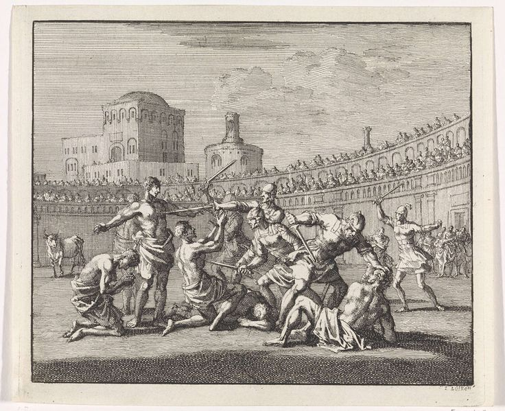 Jan Luyken | Vroegchristelijke martelaren worden in een arena afgeslacht, Jan Luyken, 1701 | In een Romeinse arena worden een groep vroegchristelijke martelaren door Romeinse soldaten met zwaarden vermoord.