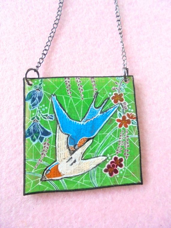 Painting necklace Painted bird necklace