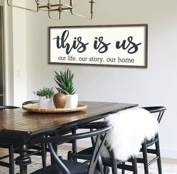 This Is Us Home Decor Farmhouse Sign Gallery Wall Decor Large Framed Wood Sign Typography Sign Black And White Size Options Dining Room Wall
