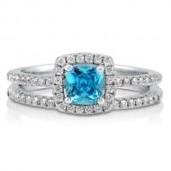 Cushion Aquamarine CZ Sterling Silver 2Pc Halo Bridal Ring Set 0.46 ct