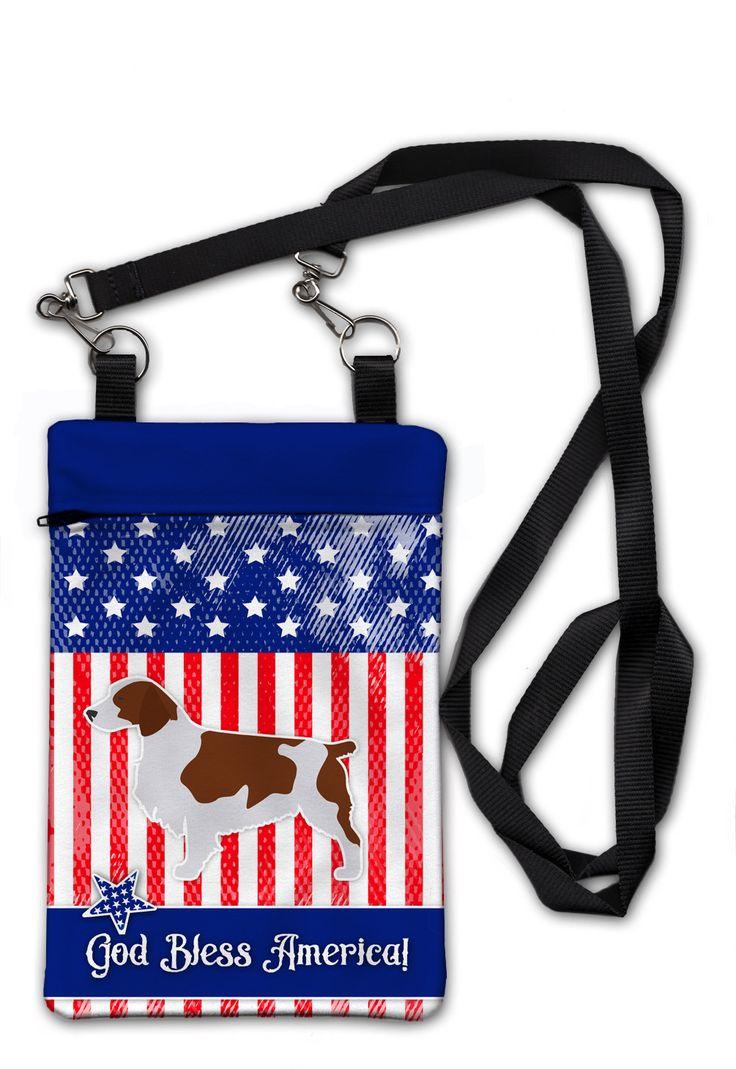USA Patriotic Welsh Springer Spaniel Crossbody Bag Purse BB3300OBDY