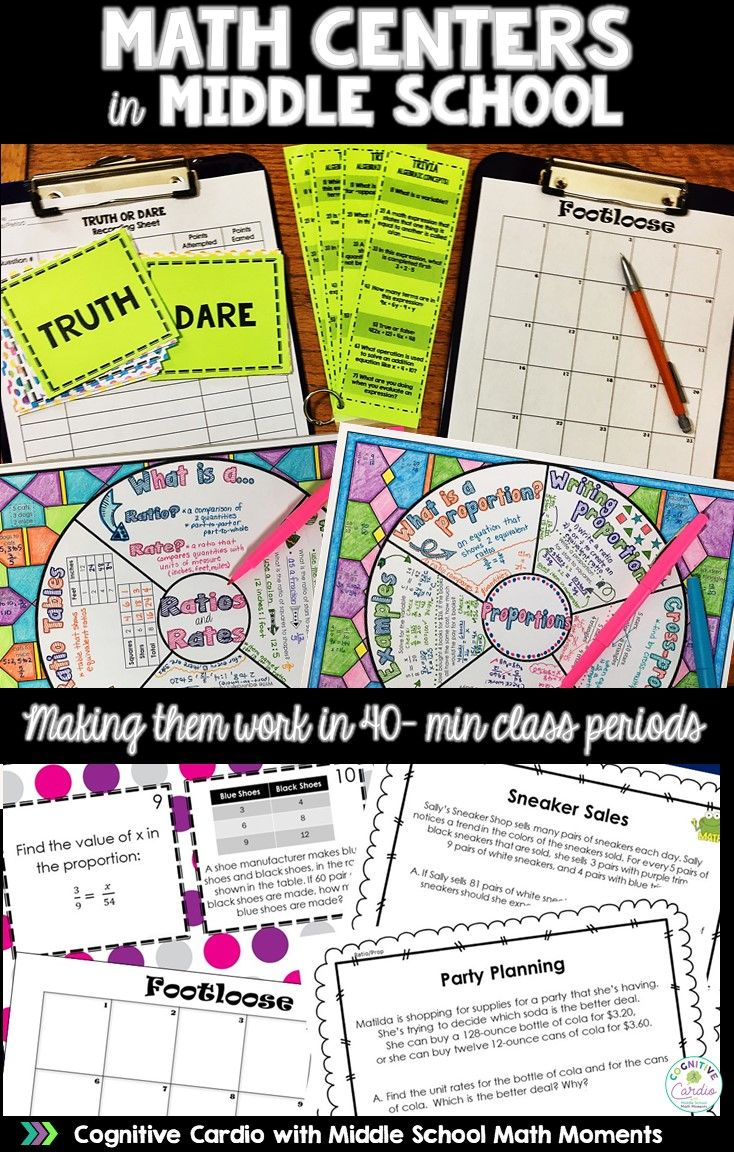 Are you looking for some new middle school math activities for your math centers? This blog post has a few suggestions and a free resource for you! #math #middleschoolmath