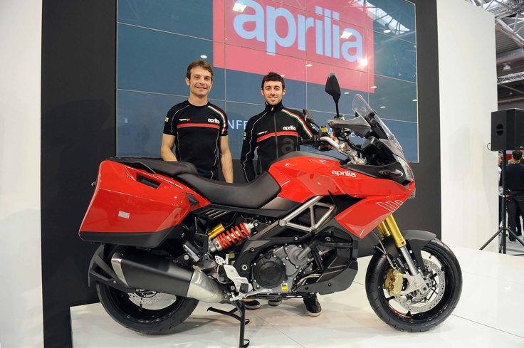Eugene #Laverty and Sylvain #Guintoli meet the new #Aprilia Caponord 1200