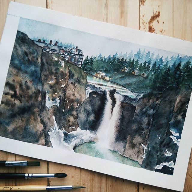 Snoqualmie falls, watercolor