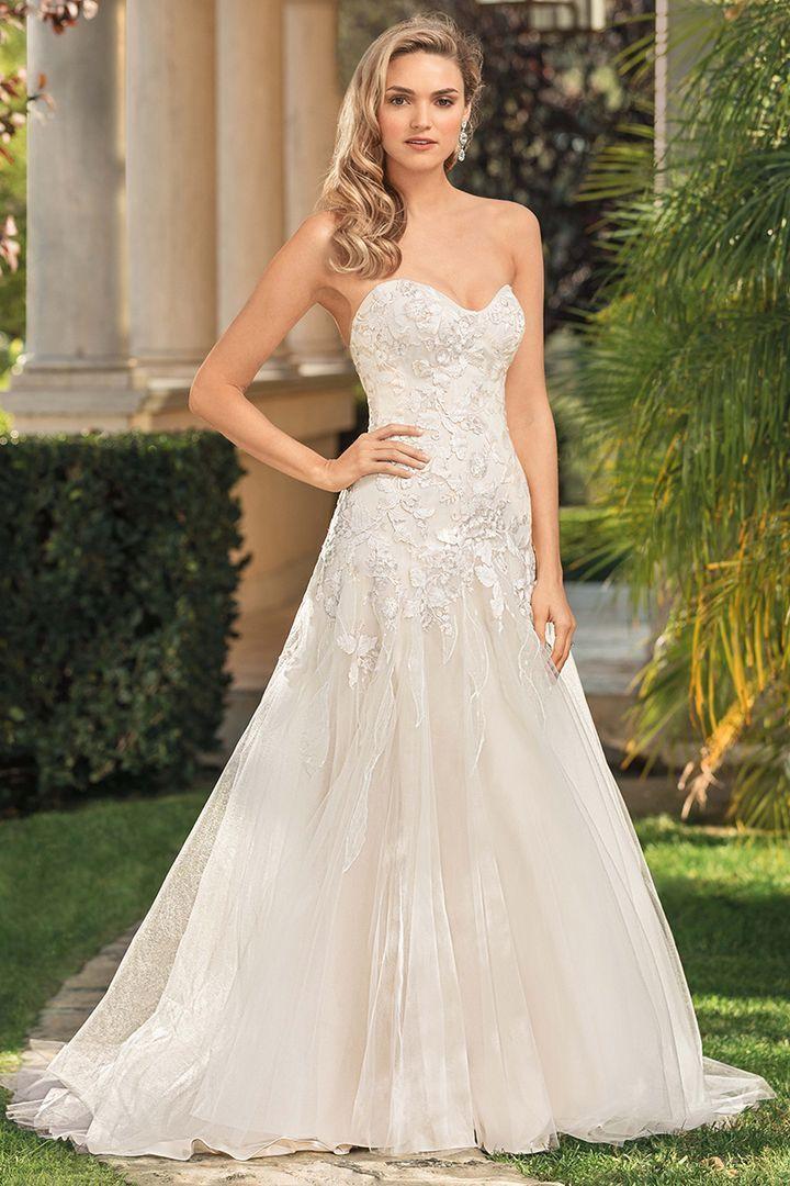 Casablanca 2346 Ingrid Strapless Lace Drop Waist Wedding Dress In