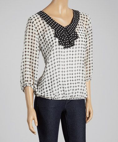 Look what I found on #zulily! Ivory & Black Sheer Polka Dot Top #zulilyfinds $17.99