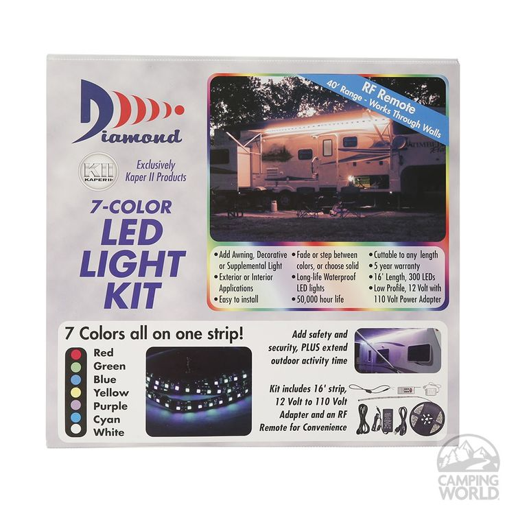 Warm LED awning lights permanently install on your RV sidewall under awning to extend activities.