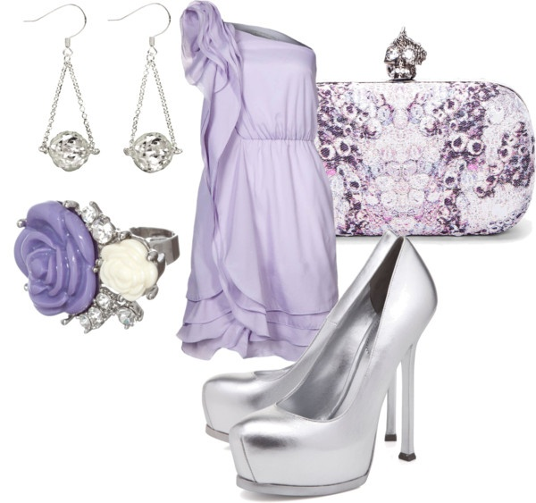 classic., created by alisluder on Polyvore: Shoes, Purple Dresses, Clutches, Classic Beautiful, Bridesmaid Outfits, Style Obsession, Classic Elegant, Colors Together, Lavender