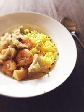 海老と鱈の白ワイン煮サフランライス添え。|レシピブログ