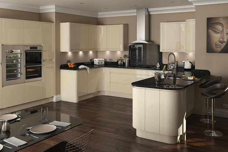 New York Modern Kitchen Design Ideas with wooden floor and brown countertop