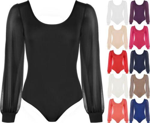 New-Womens-Sheer-Chiffon-Long-Sleeve-Scoop-Neck-Ladies-Bodysuit-Leotard-Top-8-14