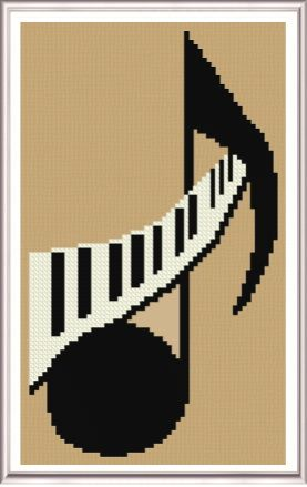 Musical Note cross stitch pattern. Download it instantly online.