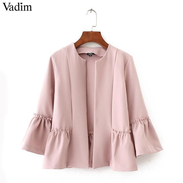 Vadim women sweet ruffles jacket open stitch design flare sleeve coats solid ladies casual brand outerwear tops CT1522