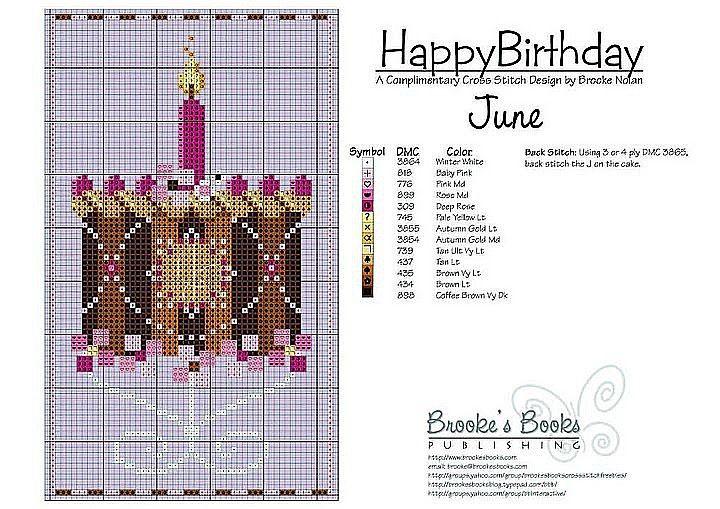 June Birthday Cake Cross Stitch Pattern   Brooke's Books Publishing
