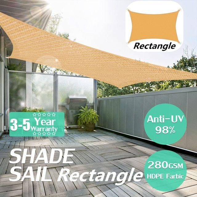 Heavy Duty Waterproof Sun Shade Sail Outdoor Rectangular Awning Canopy Garden Tent Shade Review Sun Sail Shade Shade Sail Outdoor Shade