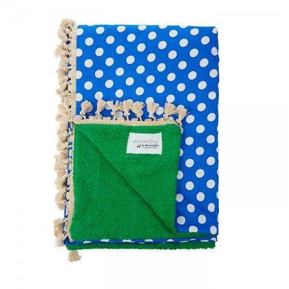Πετσέτα πράσινη με ύφασμα μπλε με λευκό πουά και μπεζ φούντα