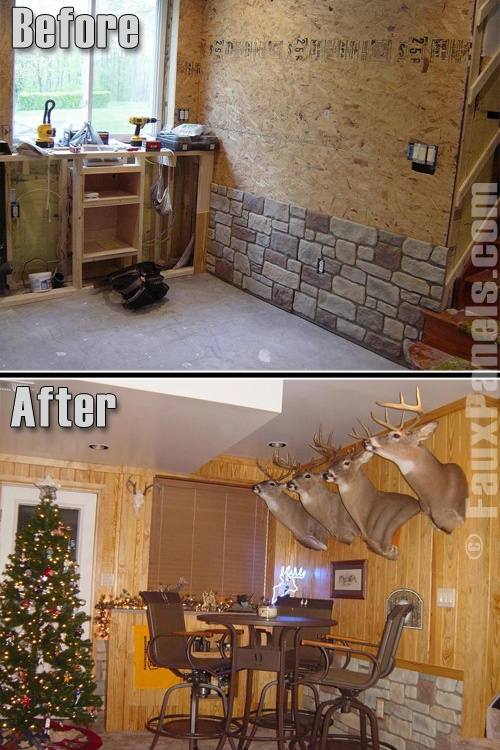 """A """"while remdeling"""" photo and an after photo demonstrate how faux stone wainscoting dressed up a rec room decorated for Christmas."""