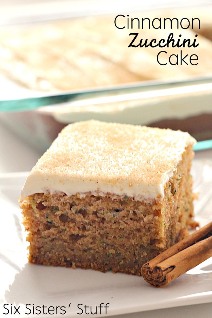 Cinnamon Zucchini Cake with Cream Cheese Frosting on SixSistersStuff.com - the best way to eat zucchini!