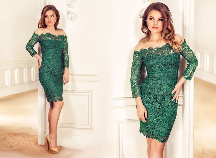 Emerald lace dress with sequins embroidery, off shoulder design and midi lenght: https://missgrey.org/en/dresses/lace-evening-dress-with-sequins-embroidery-and-off-shoulder-design-zaira/458?utm_campaign=decembrie&utm_medium=rochie_zaira_verde&utm_source=pinterest_produs