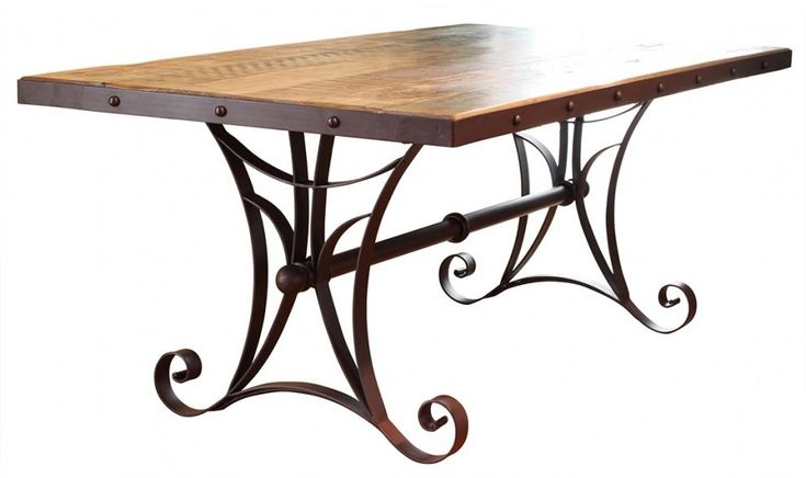 900 Antique Dining Table with Metal Base by International Furniture Direct