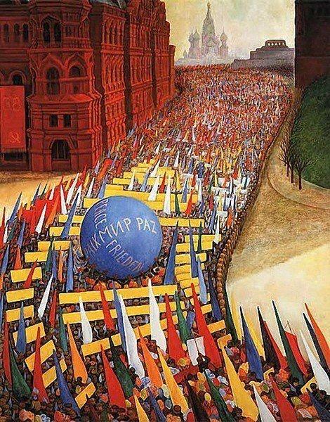 Диего Ривера «Праздник Первого мая в Москве». 1956 г.
