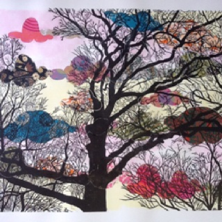 Psychedelic cloud chine colle with woodcut tree print