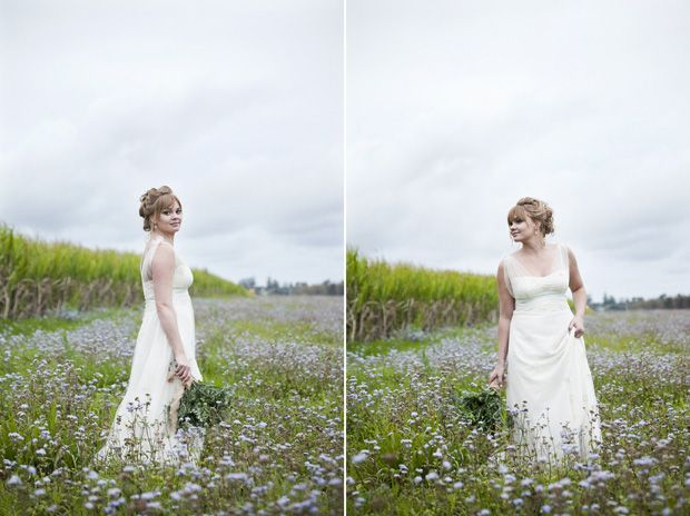 Organic cotton voile & sateen #EcoBride gown with crochet blooms
