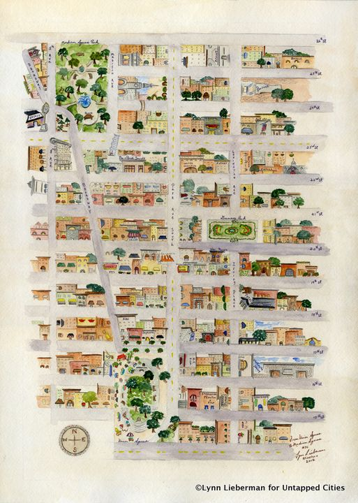 Lynn Lieberman's watercolor map takes you from Union Square Park to Madison Square Park, showing architectural highlights in Gramercy Park and Irving Place #map #nyc #newyork #manhattan
