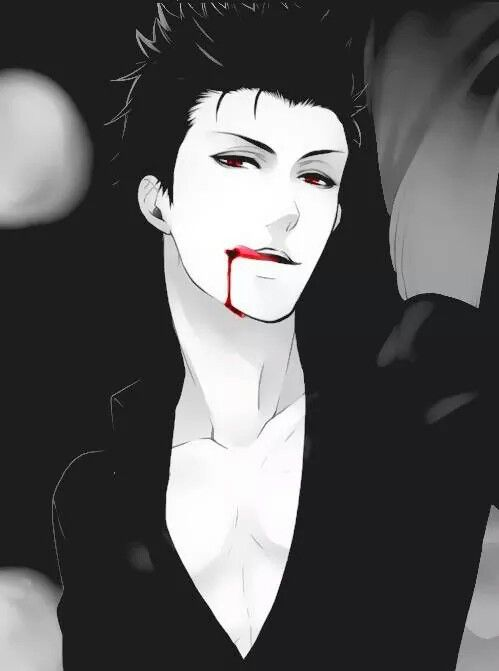 Anime guy, black hair, blood dripping from mouth, sexy, vampire