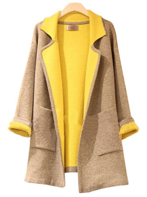 Lapel Long Sleeve Pockets Casual Trench Coats : KissChic.com