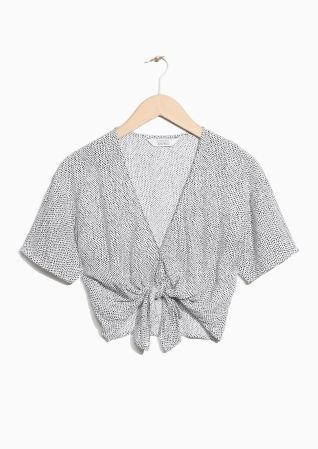 & Other Stories | V-Neck Knotted Crop Top