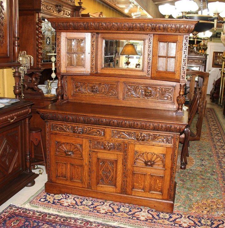 Antique Buffet With Mirror >> ~ Exquisite English Carved Antique Renaissance Tiger Oak ...