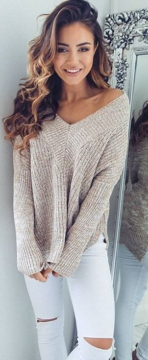 Beige Knit + White Jeans                                                                             Source