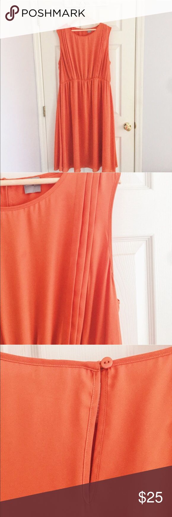 """ASOS Sleeveless Dress w/ Pleat Detail Beautiful orange chiffon dress featuring pleat detail near sleeve. Lightly worn. Does have stain near left sleeve (shown as accurately as possible in fourth photo; stain is actually blue but not very noticeable). Price takes into account the slight stain, but MAKE ME AN OFFER!!  ✧ About 46"""" in length  ✧ Fits true to size  ✧ Elasticized waist   ✧ Perfect light weight, airy summer dress   ✧ Machine washable and line dry ASOS Curve Dresses Midi"""