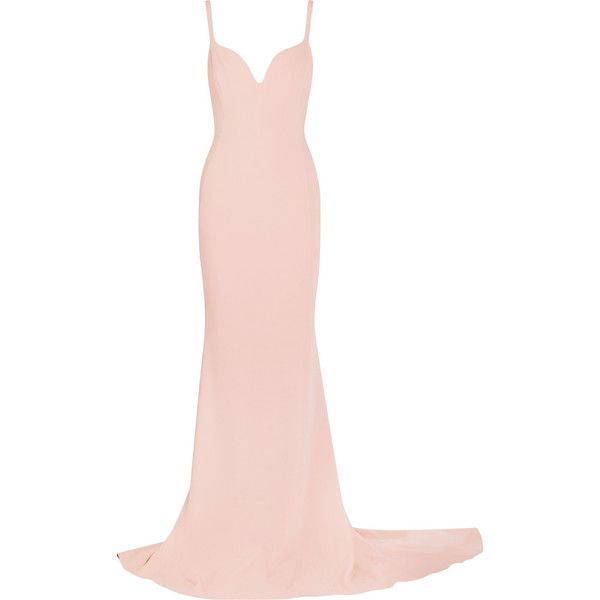 Stella McCartney Stretch-crepe gown ($2,770) ❤ liked on Polyvore featuring dresses, gowns, long dress, stella mccartney, blush, rose dress, long white evening dress, sweetheart long dress, sweet heart rose dress and white plunge dress