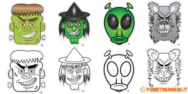 Maschere di Halloween da stampare gratis e ritagliare in versione già colorata o da colorare