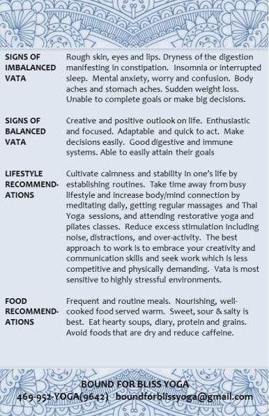 Vata Dosha Characteristics 2 (I'm mostly Pitta, but at times Vata fits)